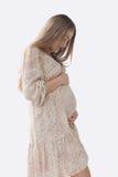 Mujer embarazada de la silueta que se sostiene el vientre Foto de archivo libre de regalías