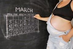 Mujer embarazada de los jóvenes que cuenta días con un calendario para el nacimiento de un niño en una pizarra Fotos de archivo libres de regalías