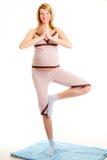 Mujer embarazada de los jóvenes que hace ejercicios Imagenes de archivo