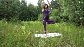 Mujer embarazada de los jóvenes que hace yoga afuera almacen de metraje de vídeo