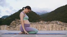 Mujer embarazada de los j?venes que hace yoga al aire libre El estirar practicante de la mujer embarazada metrajes