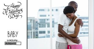 Mujer embarazada del hombre y texto de abarcamiento de las tarjetas del día de San Valentín Foto de archivo