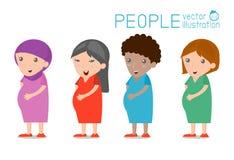 Mujer embarazada, diversas nacionalidades, concepto de la historieta del carácter de la gente stock de ilustración