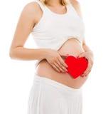 Mujer embarazada en blanco Imagenes de archivo