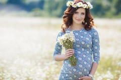 Mujer embarazada en campo con el manojo de margaritas Fotografía de archivo libre de regalías