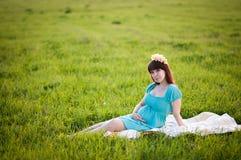 Mujer embarazada en el campo Fotografía de archivo libre de regalías