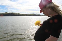 Mujer embarazada en la puesta del sol imagenes de archivo