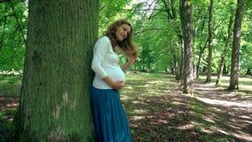 Mujer embarazada en tronco de árbol cercano relajante del noveno mes en parque metrajes