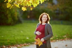 Mujer embarazada hermosa al aire libre en un d?a de la ca?da fotos de archivo libres de regalías