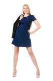 Mujer embarazada hermosa en el vestido azul aislado encendido Imágenes de archivo libres de regalías