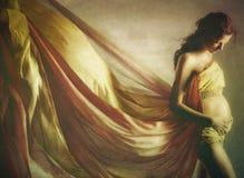 Mujer embarazada hermosa en tela que agita Fotografía de archivo libre de regalías