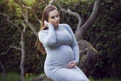 Mujer embarazada hermosa en un parque Imagen de archivo