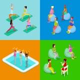 Mujer embarazada isométrica Aqua Aerobics, aptitud y yoga Forma de vida sana Foto de archivo