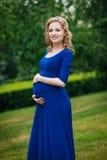 Mujer embarazada joven sonriente adorable en vestido azul con el pelo rizado rubio largo que se sostiene el vientre en parque del Imágenes de archivo libres de regalías