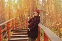 Mujer embarazada pensativa en equipo acogedor suavemente caliente del marsala que camina al aire libre imagenes de archivo