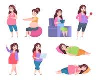 Mujer embarazada plana Ejercicios sanos para las mamáes, la dieta del embarazo, la mamá joven feliz que lee, dormir y descansar V stock de ilustración