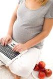 Mujer embarazada que come algunas manzanas - primer Foto de archivo libre de regalías
