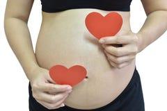 Mujer embarazada que lleva a cabo el corazón de papel rojo en el fondo blanco Foto de archivo libre de regalías