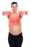 Mujer embarazada que se resuelve con pesas de gimnasia Imagen de archivo libre de regalías