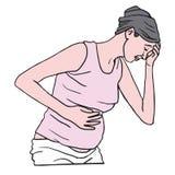 Mujer embarazada que sufre con náusea por la mañana Ilustración del vector libre illustration
