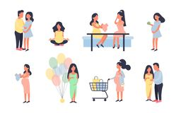 Mujer embarazada Sistema del ejemplo del vector del embarazo Caminando, nutrición sana durante el embarazo, compra, fiesta de bie ilustración del vector