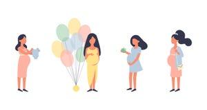 Mujer embarazada Sistema del ejemplo del vector del embarazo Caminando, nutrici?n sana durante el embarazo, compra, fiesta de bie stock de ilustración