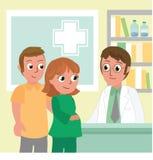 Mujer embarazada y hombre en la oficina del doctor foto de archivo