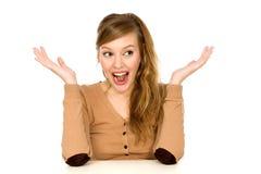 Mujer emocionada Imágenes de archivo libres de regalías