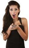 Mujer emocionada con el teléfono Foto de archivo
