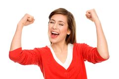 Mujer emocionada con los brazos levantados Imagenes de archivo
