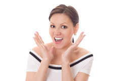 Mujer emocionada con sorprendida Imagen de archivo