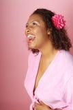 Mujer emocionada en el balneario Imágenes de archivo libres de regalías