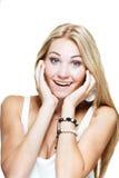 Mujer emocionada joven Foto de archivo