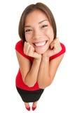 Mujer emocionada linda divertida aislada Fotografía de archivo libre de regalías