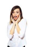 Mujer emocionada sorprendida Imagen de archivo
