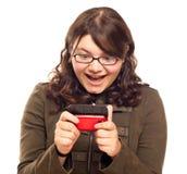 Mujer emocionada Texting   Fotos de archivo