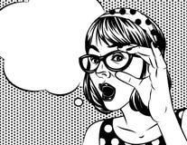 Mujer emocional que sostiene vidrios stock de ilustración