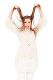 Mujer emocional que tira de su pelo Fotos de archivo libres de regalías