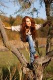Mujer en árbol - Autumn Lifestyle Fotografía de archivo libre de regalías