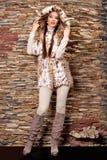 Mujer en abrigo de pieles de lujo del lince Imagen de archivo libre de regalías