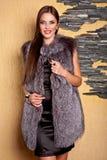 Mujer en abrigo de pieles gris de lujo Fotografía de archivo libre de regalías