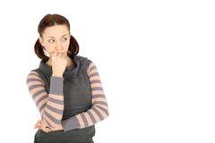 Mujer en actitud pensativa Fotografía de archivo libre de regalías