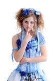 Mujer en alineada azul Foto de archivo libre de regalías