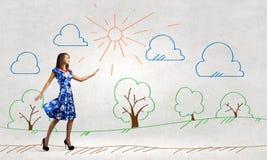 Mujer en alineada azul Fotografía de archivo libre de regalías