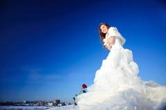 Mujer en alineada de boda Foto de archivo