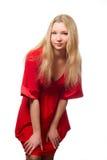 Mujer en alineada roja Foto de archivo libre de regalías