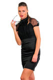 Mujer en alineada y vidrios negros Foto de archivo libre de regalías