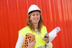 Mujer en asunto de construcción Imágenes de archivo libres de regalías