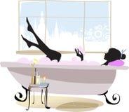 Mujer en bañera. ilustración del vector