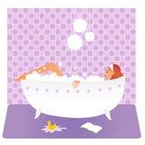 Mujer en baño ilustración del vector
